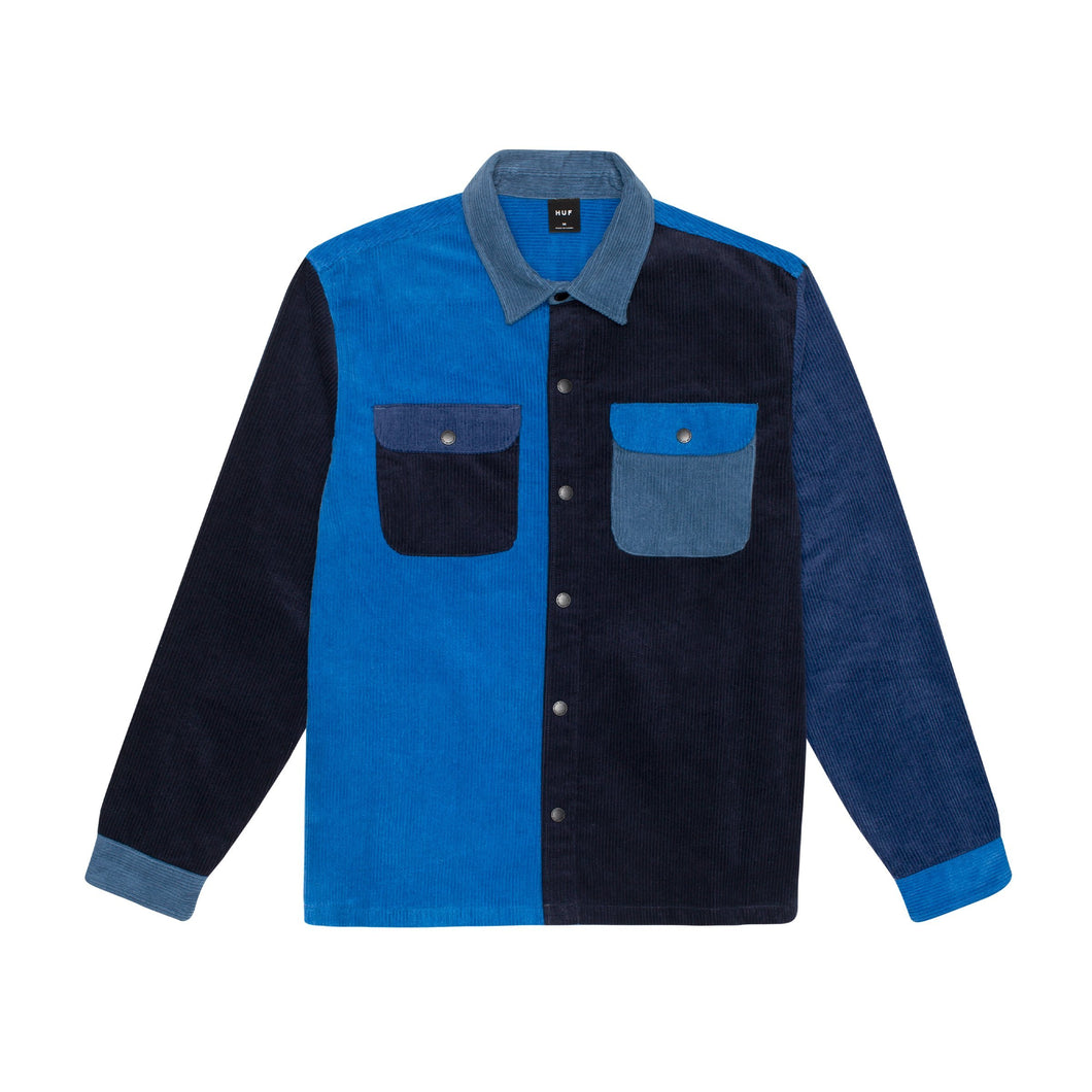 HUF Cord Block Long Sleeve Overshirt French Navy