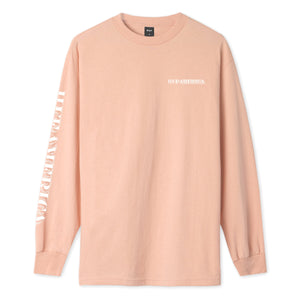 HUF Death & Taxes Long Sleeve T-Shirt Coral Pink
