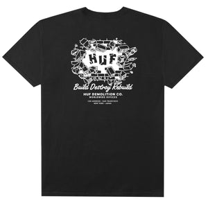 HUF Demolition Crew T Shirt Mens Tee Black