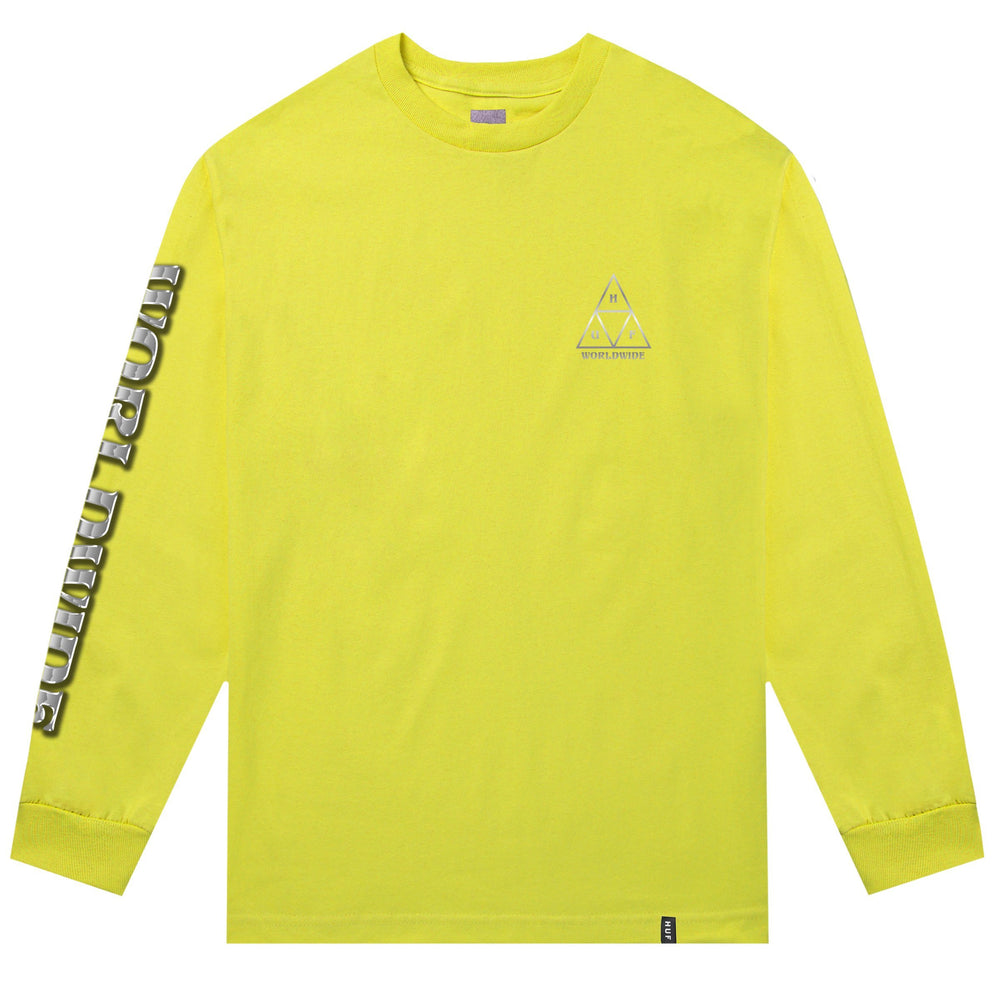 HUF Ember Rose Triple Triangle Long Sleeve T Shirt Mens Blazing Yellow