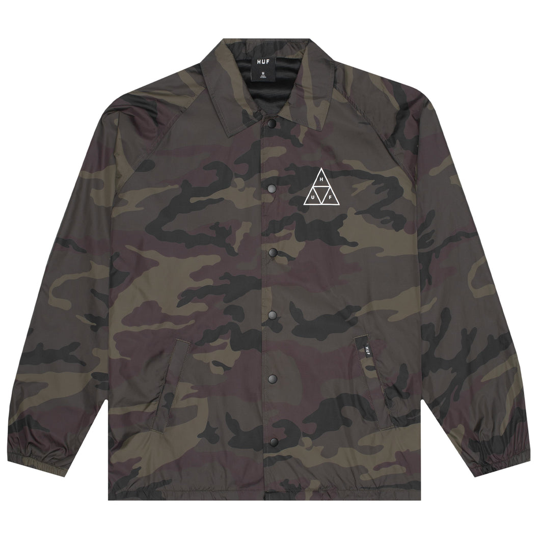 HUF Essentials Triple Triangle Coaches Jacket Mens Jacket Woodland