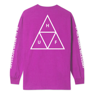 HUF Essentials Triple Triangle Long Sleeve T Shirt Mens Ls Tee Sangria