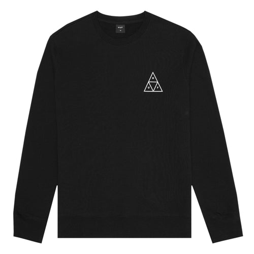 HUF Essentials Triple Triangle Crew Mens Sweater Black