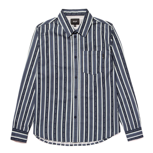Huf Fuck It Stripe Longsleeve Woven Top Navy Blazer