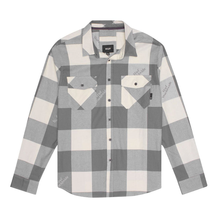 HUF Heights Flannel Long Sleeve Woven Shirt Mens LS Shirt Grey