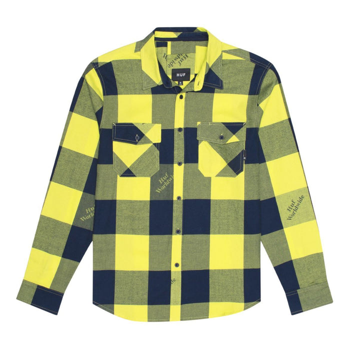 HUF Heights Flannel Long Sleeve Woven Shirt Mens LS Shirt Hot Lime