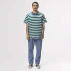 Load image into Gallery viewer, Huf Jett Stripe Short Sleeve Knit Top Digital Teal