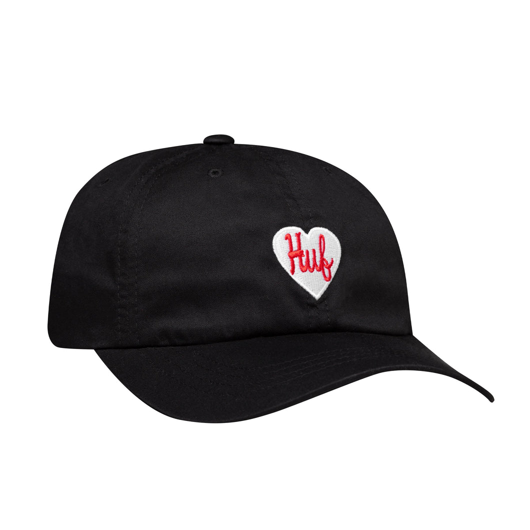 Huf Plastic Heart Curved Visor 6 Panel Hat Black