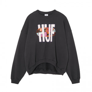 HUF Quake USA Crew Womens Sweater Charcoal