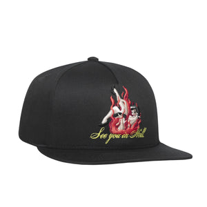 HUF See You In Hell Snapback Hat Mens Cap Black