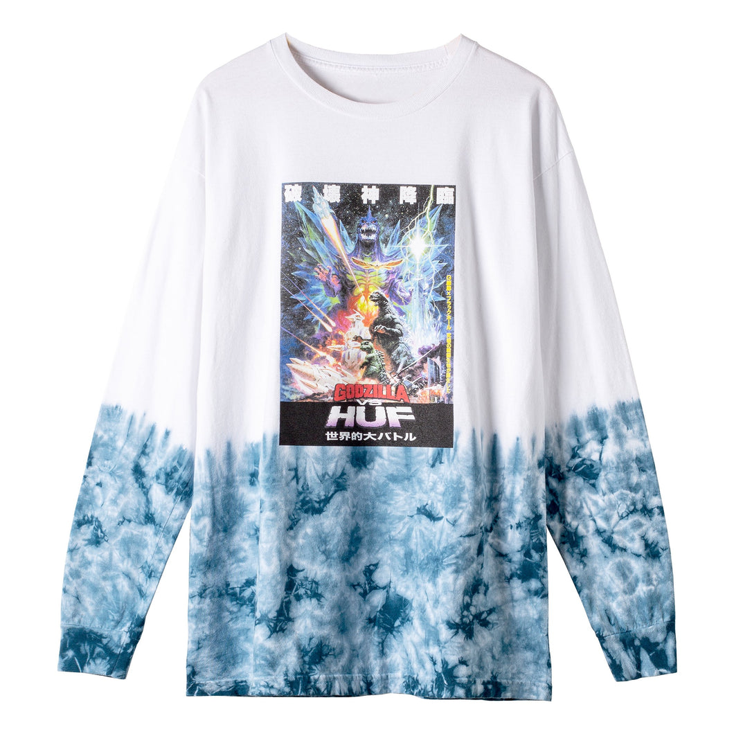 HUF SPACE GODZILLA TIEDYE LONG SLEEVE T-SHIRT White