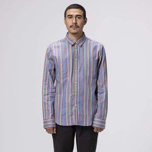 HUF TAYLOR WORK WOVEN LONG SLEEVE T-SHIRT INDIGO