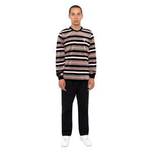 HUF Unveil Stripe Velour Long Sleeve Top Mens Sweater Black