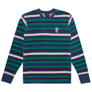 HUF Unveil Stripe Velour Long Sleeve Top Mens Sweater Quetzal Green