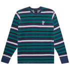 Load image into Gallery viewer, HUF Unveil Stripe Velour Long Sleeve Top Mens Sweater Quetzal Green
