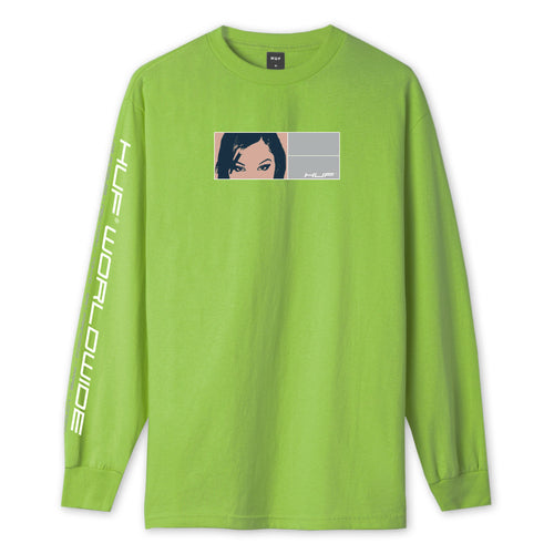 HUF Wonderland Long Sleeve T-Shirt Mens LS Tee Hot Lime