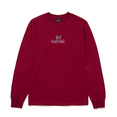 HUF Woz Embroidery Long Sleeve T-Shirt Burgundy