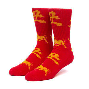 HUF Year Of The Ox Crew Sock Red