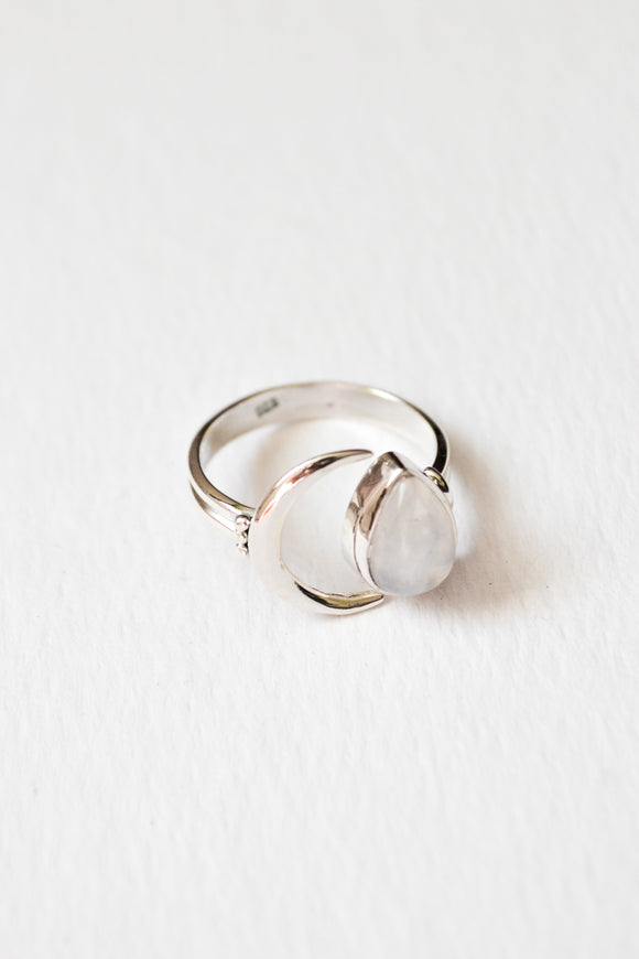 Sterling Silver Crescent Moonstone Ring