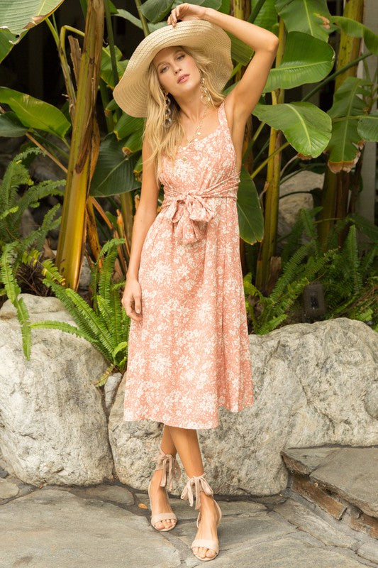 PEACH FLORAL PRINT WAIST TIE MIDI DRESS
