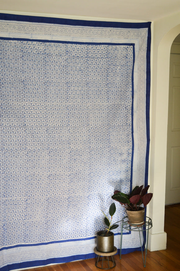 Blue and White Printed Tapestry