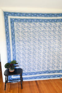 Blue and Green Printed Tapestry