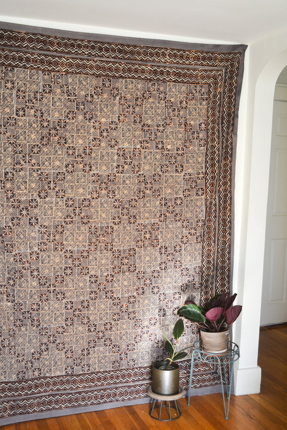Gray and Brown Printed Tapestry