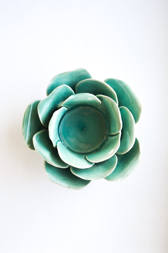 Turquoise Flower Candle Holder