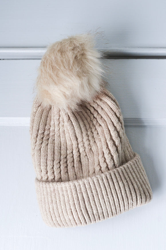 Tan Cable Knit Hat