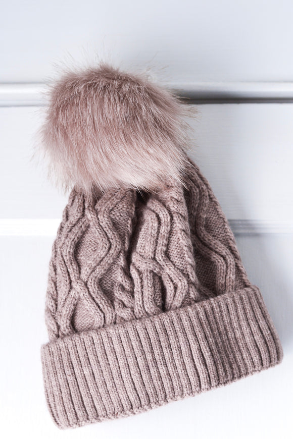 Mauve Cable Knit Hat