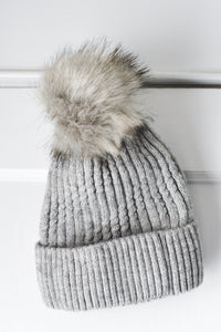 Gray Cable Knit Hat