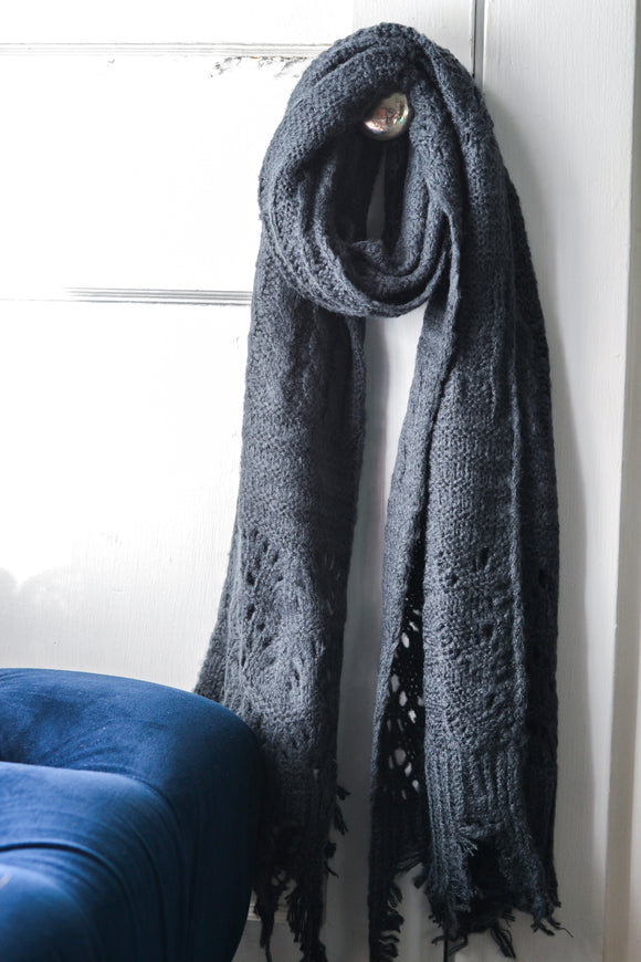 Navy Blue Knit Scarf
