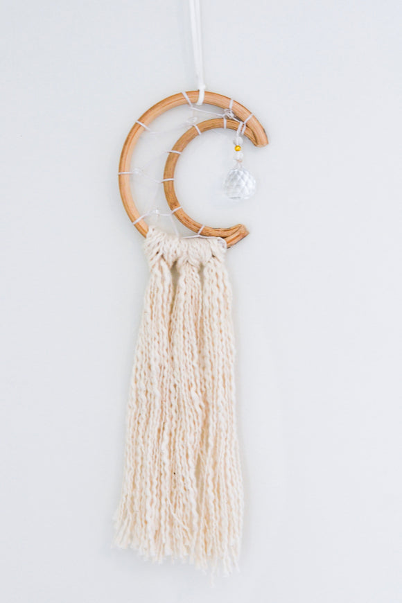 Mini Crescent Moon Dream Catcher- Cream