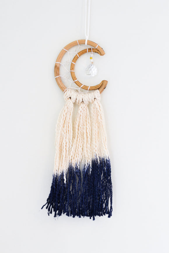 Mini Crescent Moon Dream Catcher- Blue