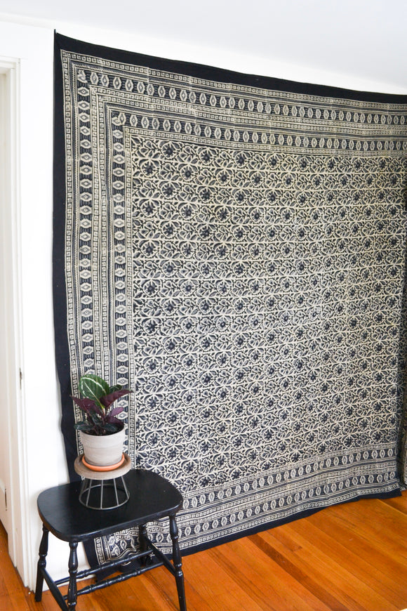 Black Printed Tapestry
