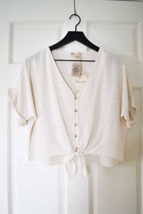 Cream Button Down Top