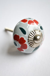 Gray and Red Floral Knob