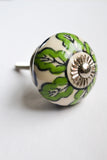 Green and White Floral Knob