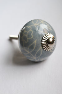 Light Blue and White Floral Knob