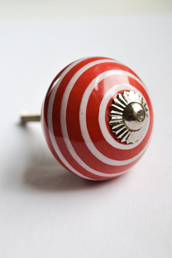 Red and White Stripe Knob