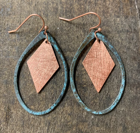 Copper Turquoise Earrings