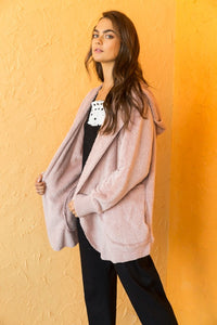 Cozy Open Hooded Jacket Mauve