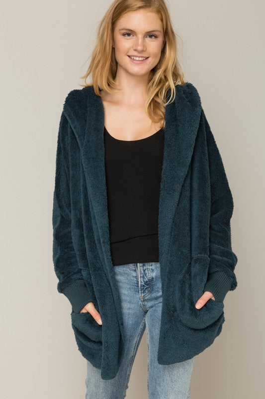 Cozy Open Hooded Jacket Teal