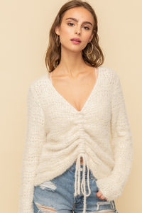 Cinched Cream Sweater