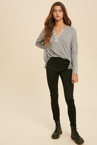 Gray Knit Hacci Top