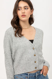Heather Grey Cropped Cardgian