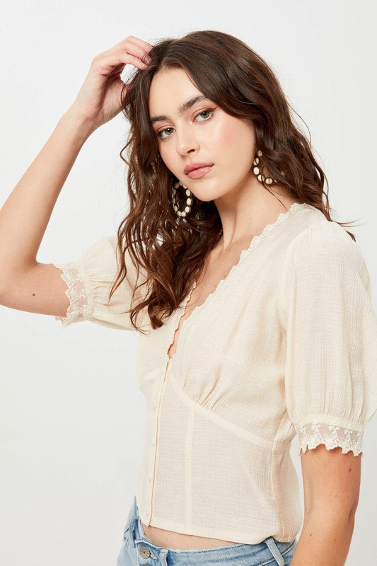 Buttoned Lace Top