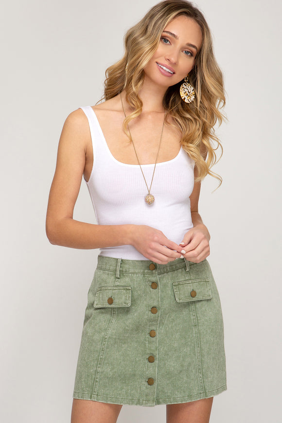 Button Down Mini Skirt