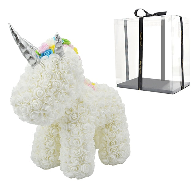 Lovely LED Rose Unicorn Soap Foam Artificial Flowers Toy Unicorn
