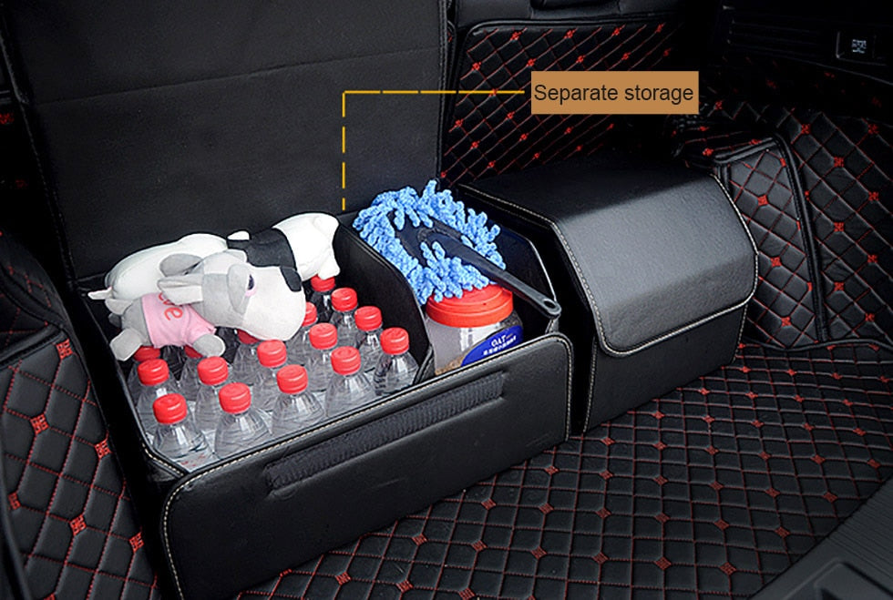 Universal Car LOGO Leather Trunk Organizer Box